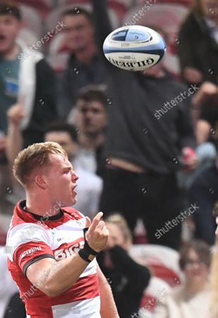 Stock Photo of Gallaher Premiership Rugby, Gloucester Rugby versus Leicester Tigers: Jack Clement of Gloucester celebrates scoring a try; Kingsholm Stadium, Gloucester, England.