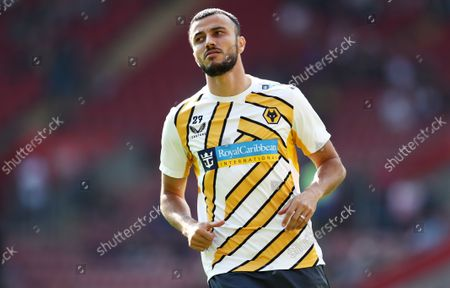 Romain Saiss of Wolverhampton Wanderers warms up.