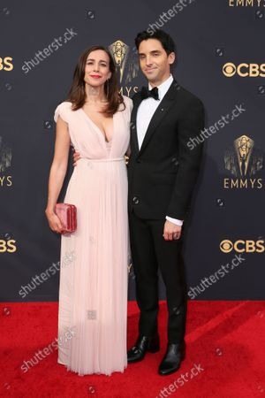 Lucia Aniello and Paul W. Downs arrive at the 73rd Emmy Awards at the JW Marriott on at L.A. LIVE in Los Angeles