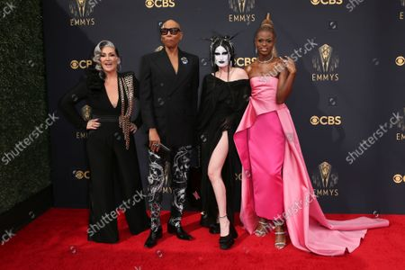 Michelle Visage, RuPaul, Gottmik, and Symone arrive at the 73rd Emmy Awards at the JW Marriott on at L.A. LIVE in Los Angeles