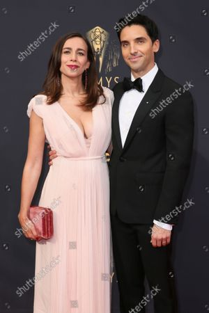 Stock Image of Lucia Aniello and Paul W. Downs arrive at the 73rd Emmy Awards at the JW Marriott on at L.A. LIVE in Los Angeles
