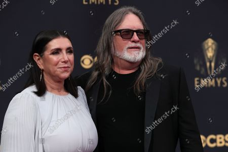 Stock Image of Stacey Sher, left, and Kerry Brown arrives at the 73rd Emmy Awards at the JW Marriott on at L.A. LIVE in Los Angeles