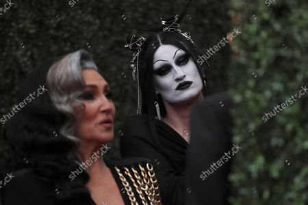 Michelle Visage and Gottmik, arrive at the 73rd Emmy Awards at the JW Marriott on at L.A. LIVE in Los Angeles