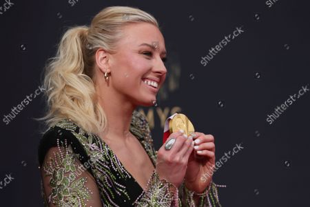 Jessica Long arrives at the 73rd Emmy Awards at the JW Marriott on at L.A. LIVE in Los Angeles