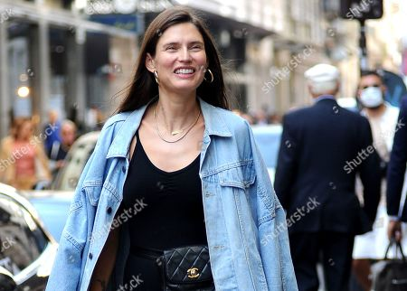 Stock Photo of Bianca Balti, the splendid Italian supermodel, strolls through the streets after having paraded in the morning and goes to lunch.