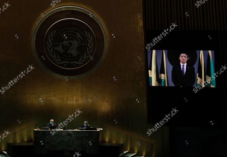 Prime Minister of Jamaica Andrew Holness addresses, via prerecorded video, the General Debate of the 76th Session of the United Nations General Assembly at UN Headquarters in New York, New York, USA, 24 September 2021.