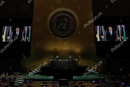 Stock Picture of Prime Minister of Jamaica Andrew Holness addresses, via prerecorded video, the General Debate of the 76th Session of the United Nations General Assembly at UN Headquarters in New York, New York, USA, 24 September 2021.