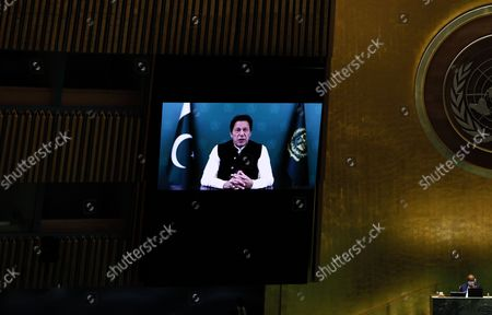 Prime Minister of Pakistan, Imran Khan addresses, via prerecorded video the General Debate of the 76th Session of the United Nations General Assembly at UN Headquarters in New York, New York, USA, 24 September 2021.