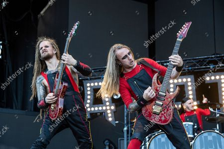 Jonas Kungen Jarlsby, left, and Tim Ohrstrom of Avatar perform at Louder Than Life Festival 2021 at Highland Festival Grounds, in Louisville, Ky