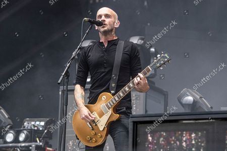 Zach Blair of Rise Agains performs at Louder Than Life Festival 2021 at Highland Festival Grounds, in Louisville, Ky