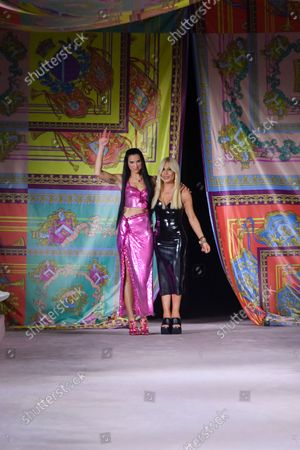 Dua Lipa and Donatella Versace on the catwalk