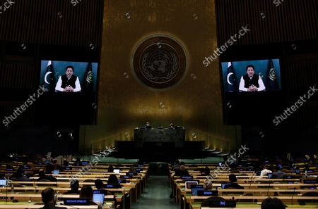 Pakistan Prime Minister Imran Khan addresses, in a pre-recorded message, addresses the 76th session of the United Nations General Assembly, at UN headquarters