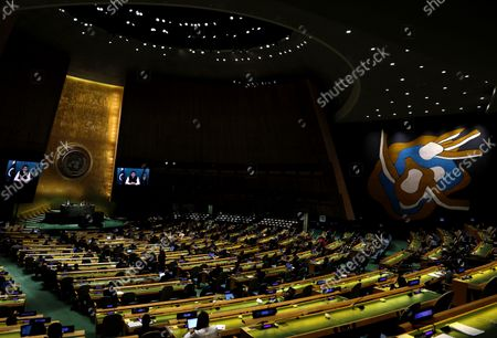 Pakistan Prime Minister Imran Khan, in a pre-recorded message, addresses the 76th session of the United Nations General Assembly, at UN headquarters