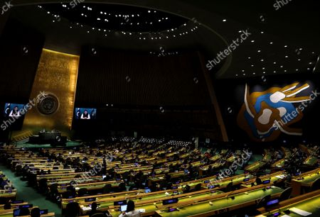 Stock Image of Prime Minister, from the Islamic Republic of Pakistan, Imran Khan addresses, via prerecorded video, the General Debate  of the 76th Session of the United Nations General Assembly at UN Headquarters in New York, New York on Friday, September 24, 2021.