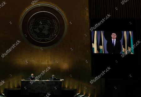 Prime Minister of Jamaica, Andrew Holness addresses, via prerecorded video, the General Debate of the 76th Session of the United Nations General Assembly at UN Headquarters in New York City on September 24, 2021.