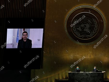 Stock Image of Prime Minister of Jamaica, Andrew Holness addresses, via prerecorded video, the General Debate of the 76th Session of the United Nations General Assembly at UN Headquarters in New York City on September 24, 2021.