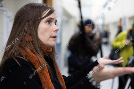 Stock Picture of Iceland's Prime Minister Katrin Jakobsdottir speaks to the media after voting at a polling station in Reykjavik, Iceland, . Icelanders are voting in a general election dominated by climate change, with an unprecedented number of political parties likely to win parliamentary seats