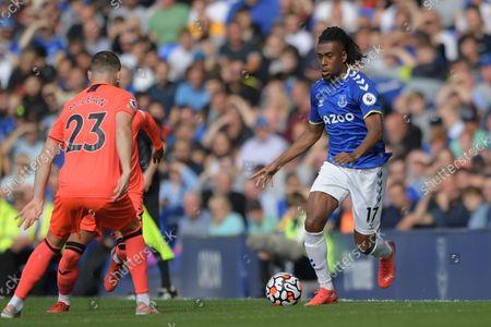 Everton midfielder Alex Iwobi (17) runs forward during the Premier League match between Everton and Norwich City at Goodison Park, Liverpool