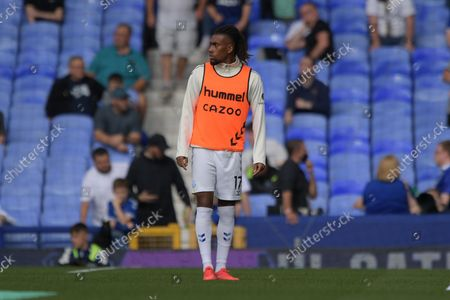 Everton midfielder Alex Iwobi (17) warming up prior to the Premier League match between Everton and Norwich City at Goodison Park, Liverpool
