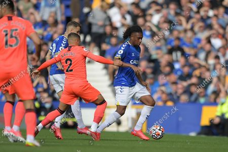 Norwich City defender Max Aarons  (2) and Everton midfielder Alex Iwobi (17) during the Premier League match between Everton and Norwich City at Goodison Park, Liverpool