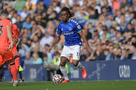 Everton midfielder Alex Iwobi (17) during the Premier League match between Everton and Norwich City at Goodison Park, Liverpool