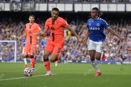 Norwich City defender Ozan Kabak  (15)  and Everton midfielder Alex Iwobi (17) battles for possession during the Premier League match between Everton and Norwich City at Goodison Park, Liverpool