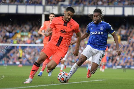 n15= and Everton midfielder Alex Iwobi (17) battles for possession during the Premier League match between Everton and Norwich City at Goodison Park, Liverpool