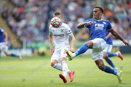 Leicester City defender Ryan Bertrand (5) kicks ball forward during the Premier League match between Leicester City and Burnley at the King Power Stadium, Leicester
