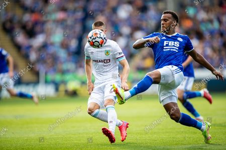 Leicester City defender Ryan Bertrand (5) plays a pass during the Premier League match between Leicester City and Burnley at the King Power Stadium, Leicester
