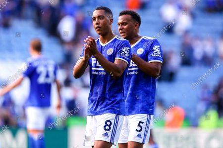 Youri Tielemans of Leicester City and Ryan Bertrand