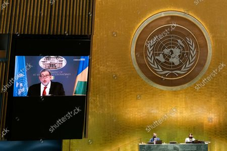 St. Vincent and the Grenadines' Prime Minister Ralph Gonsalves remotely addresses the 76th Session of the U.N. General Assembly by pre-recorded video in New York City, New York, USA, 25 September 2021.