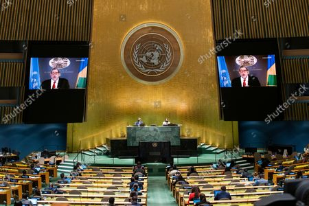 Stock Image of St. Vincent and the Grenadines' Prime Minister Ralph Gonsalves remotely addresses the 76th Session of the U.N. General Assembly by pre-recorded video in New York City, New York, USA, 25 September 2021.