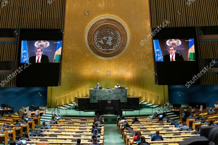 Stock Picture of St. Vincent and the Grenadines' Prime Minister Ralph Gonsalves remotely addresses the 76th Session of the U.N. General Assembly at United Nations headquarters in New York, on