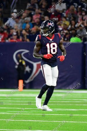 Houston Texans wide receiver Chris Conley (18) lines up against the Carolina Panthers during the second half of an NFL football game, in Houston