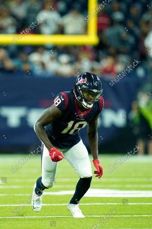 Houston Texans wide receiver Chris Conley (18) runs a pass route during an NFL football game against the Carolina Panthers, in Houston