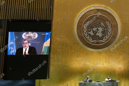 St. Vincent and the Grenadines' Prime Minister Ralph Gonsalves remotely addresses the 76th Session of the U.N. General Assembly in New York City on September 25, 2021.