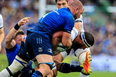 Leinster vs Vodacom Bulls. Bulls' Marcell Coetzee is tackled by Ross Molony and Andrew Porter of Leinster