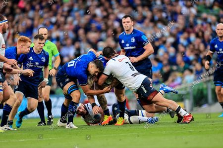 Leinster vs Vodacom Bulls. Leinster's Andrew Porter is tackled by Mornay Smith of Vodacom Bulls