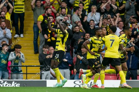 Ismaila Sarr of Watford celebrates after scoring during the Premier League match between Watford and Newcastle United at Vicarage Road, Watford on Saturday 25th September 2021.
