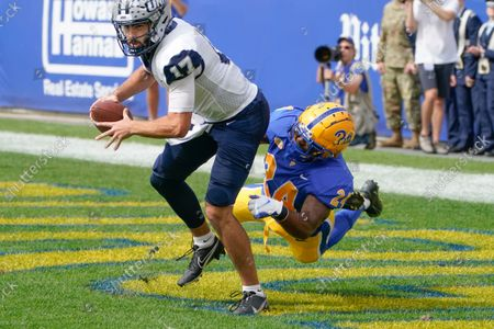Stock Image of New Hampshire quarterback Bret Edwards (17) looks to pass as Pittsburgh linebacker Phil Campbell III (24)I chases him in an NCAA college football game against Pittsburgh, in Pittsburgh