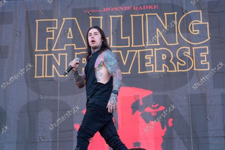 Ronnie Radke of Falling in Reverse performs at Louder Than Life Festival 2021 at Highland Festival Grounds, in Louisville, Ky