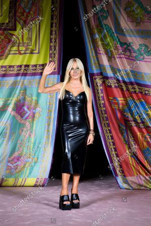 Donatella Versace on the catwalk
