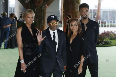 Tonya Lewis Lee, Spike Lee, Satchel Lee and Jackson Lee pose on the red carpet on arrival for the opening gala of the Academy Museum of Motion Pictures in Los Angeles, California, USA, 25 September 2021. The museum is set to open to the public on 30 September 2021.