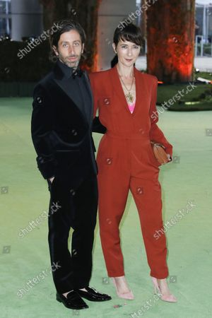 Simon Helberg (L) and his wife Jocelyn Towne (R) pose on the red carpet on arrival for the opening gala of the Academy Museum of Motion Pictures in Los Angeles, California, USA, 25 September 2021. The museum is set to open to the public on 30 September 2021.