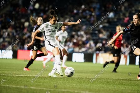 Stock Picture of Sophia Smith #9, Portland Thorns shoots the ball during the match on September 25 at Seat Geek Stadium