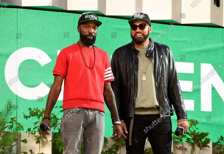Stock Picture of The Kid Mero, left, and Desus Nice speak at Global Citizen Live in Central Park, in New York