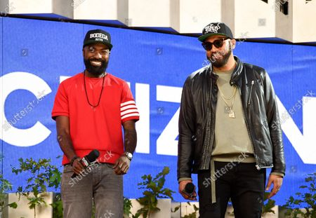 Stock Image of The Kid Mero, left, and Desus Nice speak at Global Citizen Live in Central Park, in New York