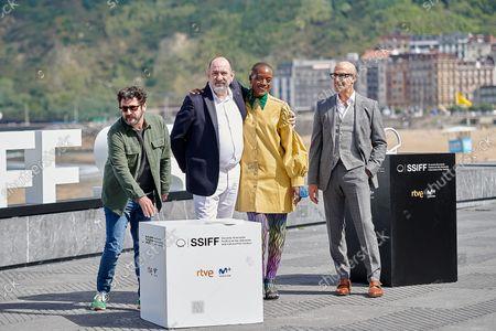 (L-R) Actors Manolo Solo, Karra Elejalde, T'nia Miller and Stanley Tucci attend La Fortuna Photocall at the 69th San Sebastian Film Festival in San Sebastian, Spain, on September 24, 2021.