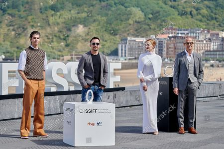 (L-R) Alvaro Mel, Alejandro Amenabar, Ana Polvorosa and Stanley Tucci attend La Fortuna Photocall at the 69th San Sebastian Film Festival in San Sebastian, Spain, on September 24, 2021.