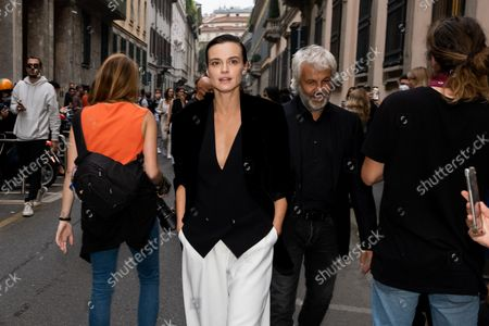 The Polish actress Kasia Smutniak arrives in the location where the fashion show of the designer Giorgio Armani will take place, during the Milan Fashion Week in September 2021.